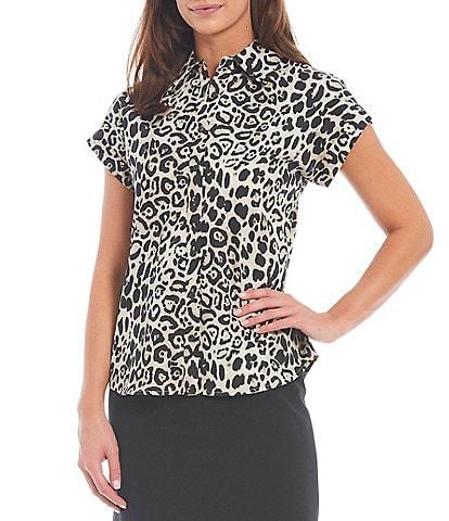 Preston & York Ally Button Down Cap Sleeve Leopard Print Top