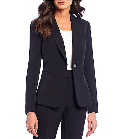 Preston & York Alyssa One Button Front Notch Lapel Crepe Jacket