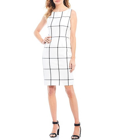 Preston & York Barrie Windowpane Sleeveless Twill Sheath Dress