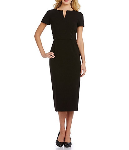 db9756e8d Preston & York Blake Notch V-Neck Midi Length Sheath Dress