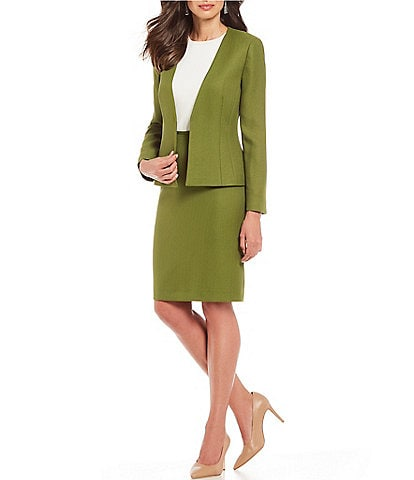 Preston & York Darlene Herringbone Collarless Jacket & Kelly Herringbone Skirt