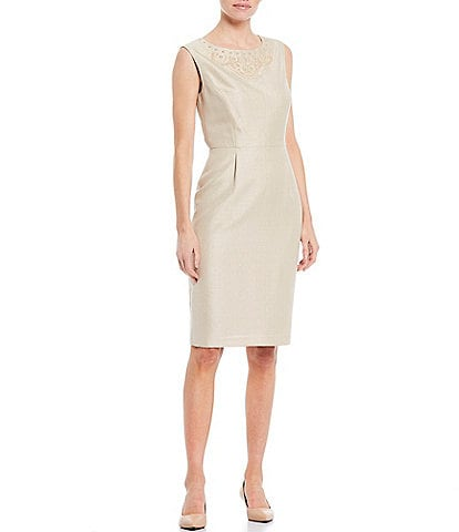 Preston & York Dawn Beaded Neck Detail Sparkle Suiting Sheath Dress
