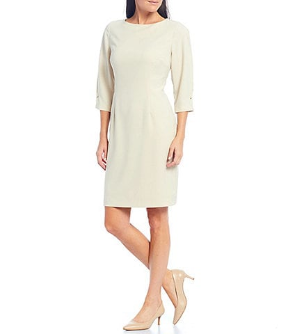 Preston & York Doreen Bateau Neck 3/4 Sleeve Stretch Crepe Sheath Dress
