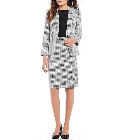 Preston & York Elayne Dot Jacquard Jacket & Kelly Dot Jacquard Pencil Skirt