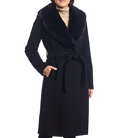 Preston & York Faux Fur Shawl Collar Wool Blend Belted Wrap Coat
