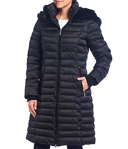 Preston & York Faux Fur Trim Hood Long Quilted Coat