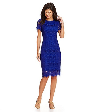 b17196a9532b6d Preston   York Felicia Short Sleeve Lace Sheath Dress