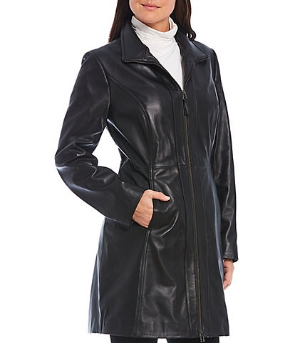 Preston & York Genuine Leather Stand Collar Long Zip Front Coat