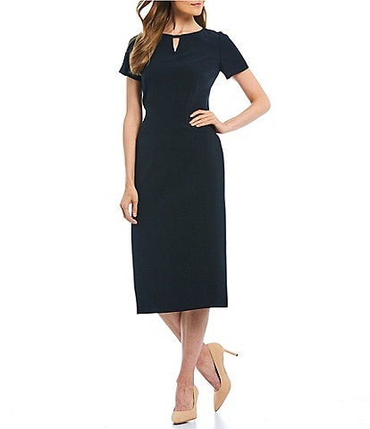 Preston & York Isabel Bi-Stretch Keyhole Neckline Midi Sheath Dress