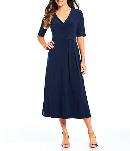 f212c8ea6b3 Preston   York Jane Surplus Knit Faux Wrap A-Line Midi Dress