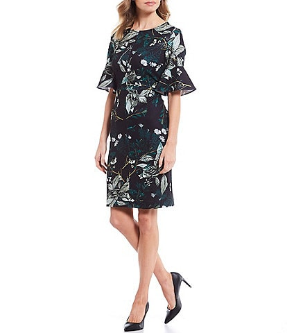 Preston & York Joane Floral Print Flare Short Sleeve Scuba Crepe Dress