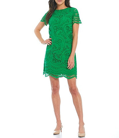 Preston & York Joanne Crew Neck Eyelet Shift Dress