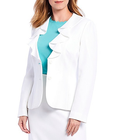 Preston & York Julie Ruffle Neck Two-Button Front Blazer