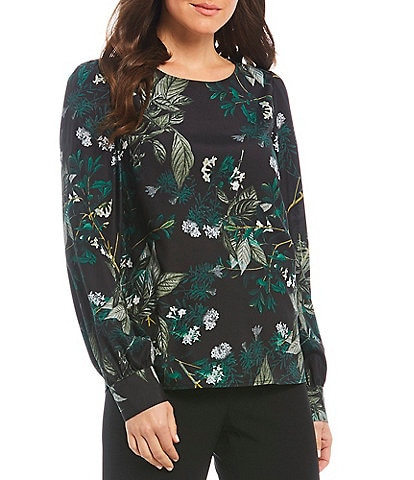 Preston & York Karena Floral Print Long Sleeve Blouse