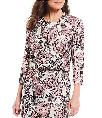 Preston & York Laura Jacquard Metallic Floral Print Crop Jacket