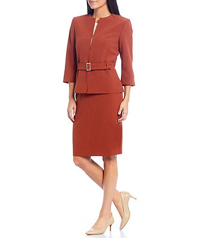 Preston & York Leigh Drape Suiting Belted Blazer & Kelly Mid Rise Pencil Skirt