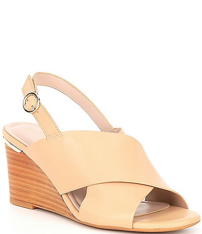 Preston & York Malina Leather Sling Back Wedges