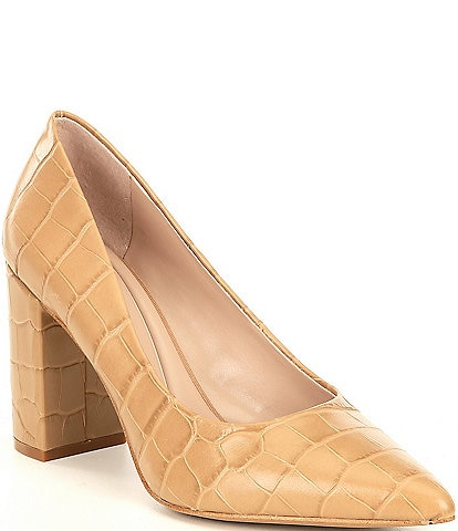 Preston & York Payton Croc Embossed Leather Block Heel Pumps
