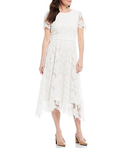Preston & York Regina Lace Short Sleeve A-Line Midi Dress