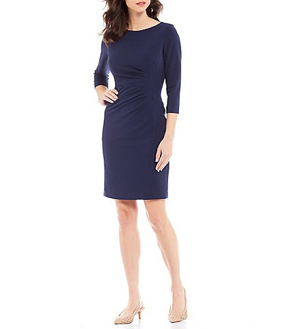 Preston & York Roselle Ruched Waist Detail Scuba Crepe Dress