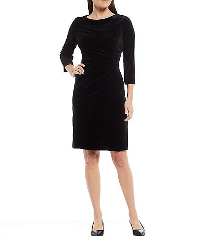 Preston & York Roselle Velvet Ruched Waist 3/4 Sleeve Sheath Dress