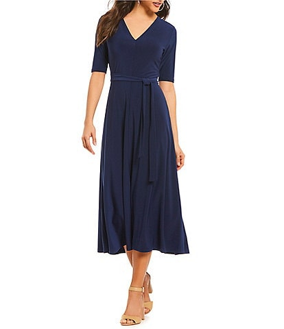 Preston & York Sydney V-Neck Tie Waist Midi Dress