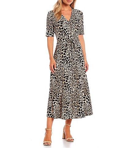 Preston & York Sydney Leopard Print Knit V-Neck Short Sleeve Midi Dress