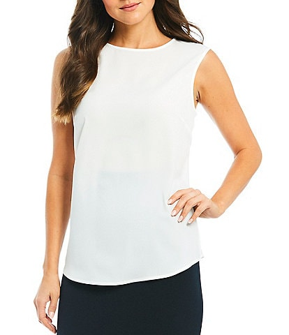 Preston & York Violet Sleeveless Round Neck Blouse