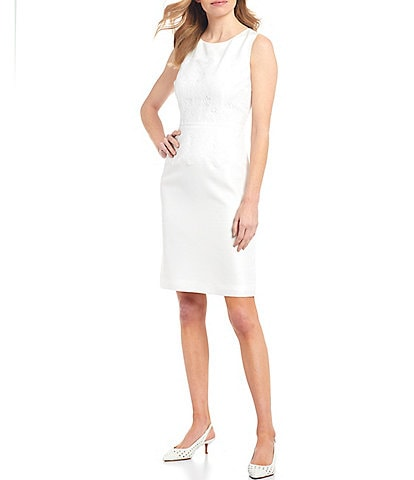 Preston & York Winna Lace Sparkle Suiting Sleeveless Sheath Dress