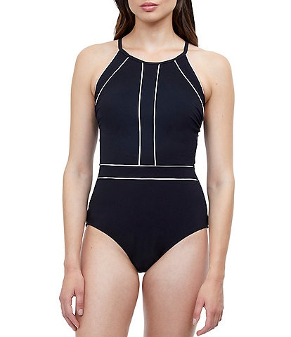 Profile by Gottex Bell Curve High Neck Tummy Control One Piece Swimsuit