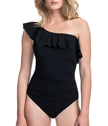Profile by Gottex Tutti Frutti Ruffle Tummy Control One Shoulder One Piece Swimsuit