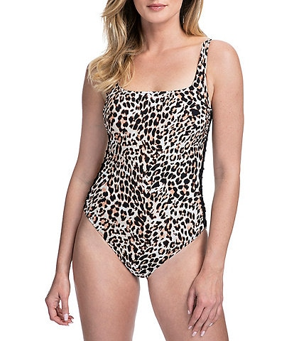 Profile by Gottex Wild Thing Leopard Print Square Neck Tummy Control One Piece