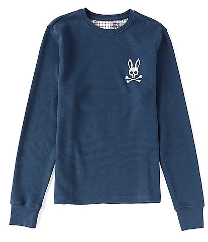 Psycho Bunny Lounge Solid Waffle Crew Neck Long Sleeve Top