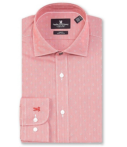 Psycho Bunny Non-Iron Modern Fit Spread Collar Houndstooth Dobby Dress Shirt