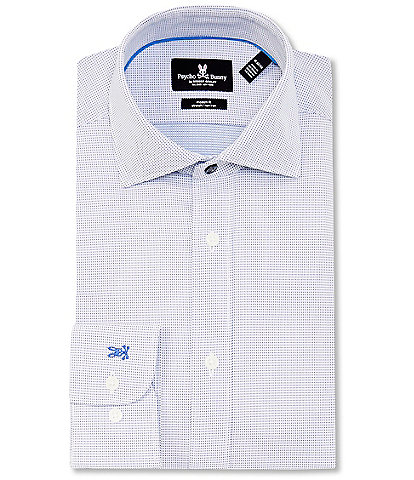 Psycho Bunny Long Sleeve Mens Dress Shirt Blue Modern Stretch Wicking $89 NEW