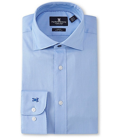 Psycho Bunny Non-Iron Modern Fit Spread-Collar Solid Dress Shirt
