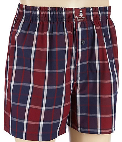 Psycho Bunny Port Peacoat Plaid Woven Boxers