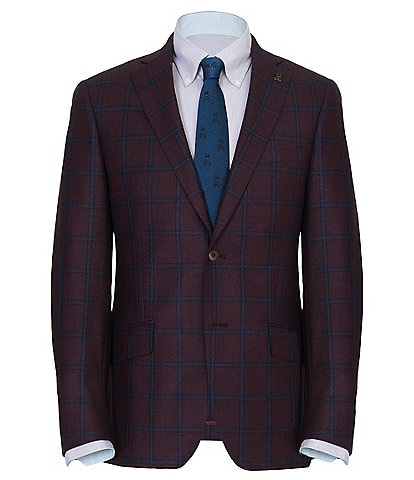 Psycho Bunny Red and Blue Windowpane Pattern Slim Fit Jacket
