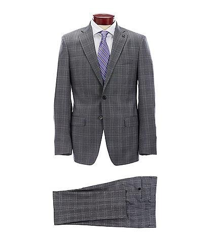Psycho Bunny Slim Fit Blue Plaid Wool Suit
