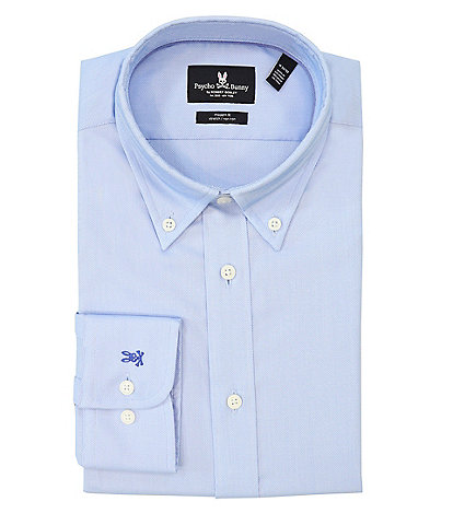 Psycho Bunny Modern Fit Button-Down Collar Textured Solid Dress Shirt