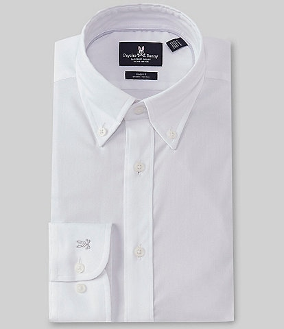 Psycho Bunny Modern Fit Non-Iron Button-Down Collar Textured Solid Dress Shirt