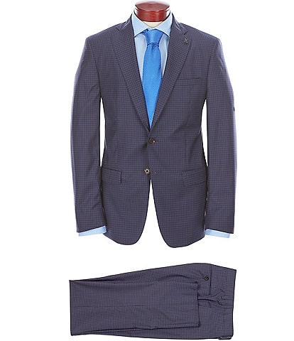 Psycho Bunny Slim Fit Navy Check Wool Suit