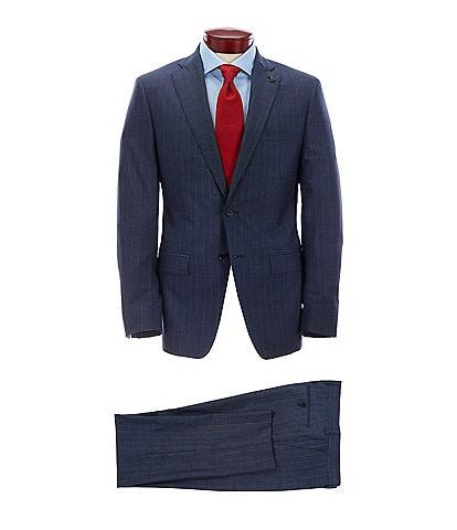 Psycho Bunny Slim Fit Navy Stripe Wool Suit