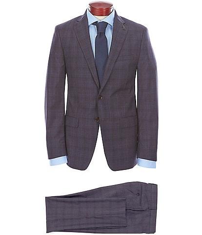 Psycho Bunny Slim Fit Plaid Windowpane Wool Suit