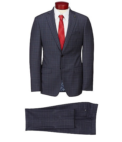 Psycho Bunny Slim Fit Plaid Wool Suit