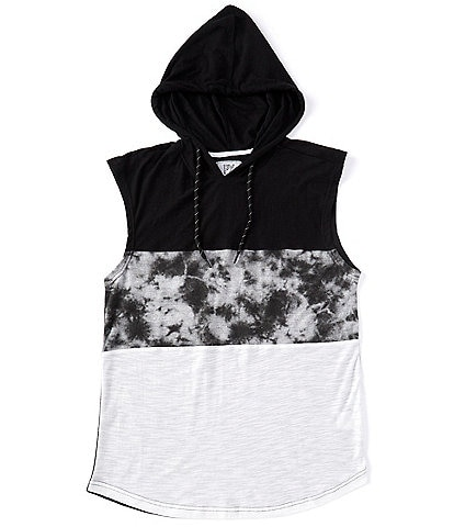 Px Clothing Sleeveless Color-Block Muscle Hooded Tee