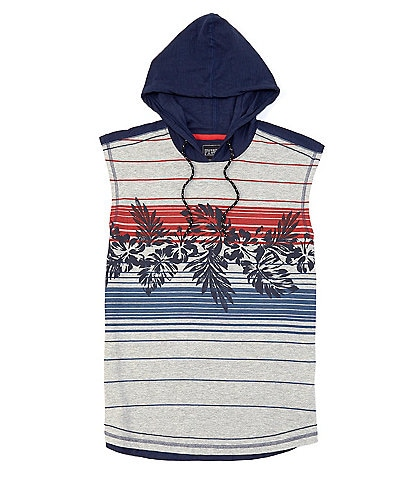 PX Clothing Sleeveless Stripe Muscle Hooded Tee