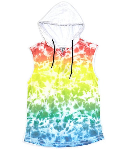 PX Clothing Sleeveless Tie-Dye Print Muscle Pull-Over Hoodie
