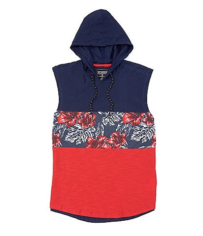 PX Clothing Sleeveless Tropical Color-Block Hooded Tee