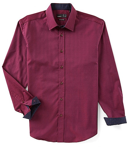 Quieti Dot Chevron Jacquard Long-Sleeve Woven Shirt